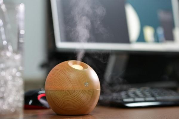 Wooden essential oil diffuser in the office