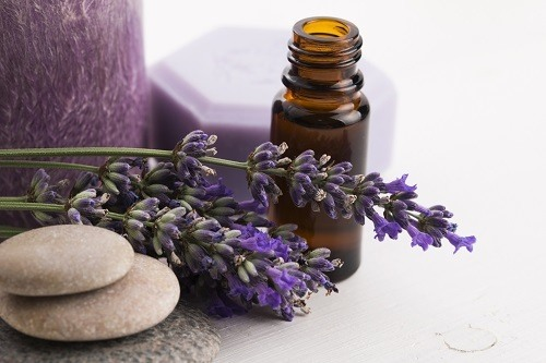 Esential Oil And Lavander Flowers
